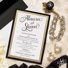 wedding invitations black and white steve s gold glam new year s wedding invitation suite
