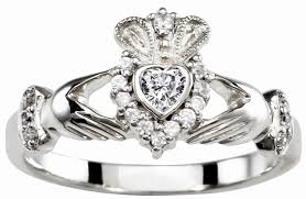 ladies rings diamond images Ladies diamond silver claddagh ring april birthstone jpg