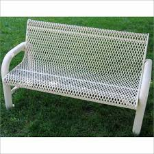 Steel Outdoor Bench Grand Contour Outdoor Bench With Back Expanded Metal Mesh