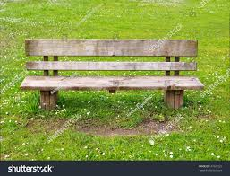 wooden park bench nature good place stock photo 147847523