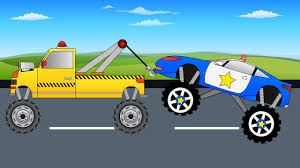 kids monster truck videos tow truck saves blue police monster truck monster trucks for