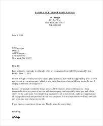 9 thank you resignation letters free sample example format