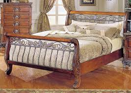 sculpture of feel ultimate comfort with cherry wood sleigh bed