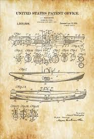 submarine patent 1919 submarine blueprint vintage submarine