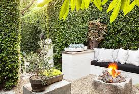 Rustic Firepit Garden With Built In Sofa And Rustic Firepit Transitional Garden