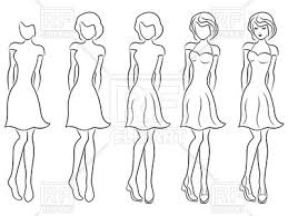 sequence of hand drawing sketch of a beautiful woman in dress