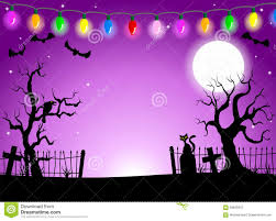 scary halloween background with cemetery in the dark night stock