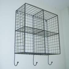 Wire Storage Unit Metal Wire Locker Room Storage Shelf Unit Basket Hooks Vintage