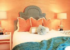 Turquoise And Coral Bedroom Coral Peach Wall For Bedroom With Turquoise Motif Runner And