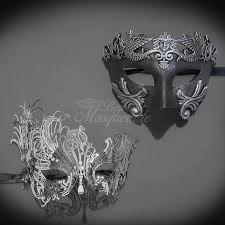 couples masquerade masks his hers couples masquerade mask silver filigree metal