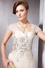 Wedding Dresses With Sleeves Uk Champagne Glamorous Wedding Dress With Cap Sleeves By Elliot