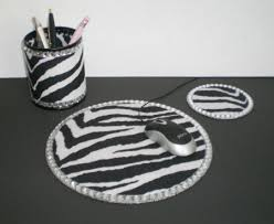 Zebra Desk Accessories Zebra Print Bling Computer Desk Set By Lauriebcreations On Etsy
