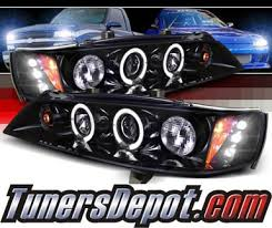 97 honda accord lights spec d halo led projector headlights glossy black smoke 94 97