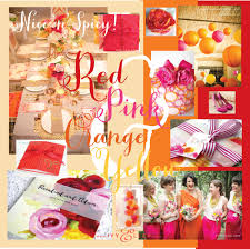red pink orange and yellow wedding colour schemeivy ellen