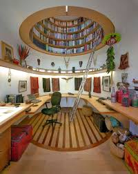 office beautiful home office with library and u shape brown