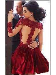 red homecoming dresses high neck long sleeves sheer lace appliques