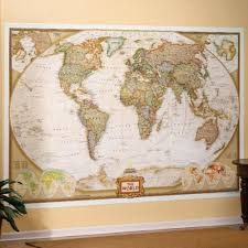 Maps Blue Ocean Series Usa Laminated Wall Map Round World Products 37