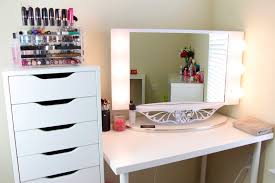 Vanity Makeup White Wooden Mirrored Makeup Vanity With Some Drawers Jpg