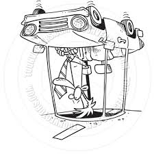 cartoon car drawing cartoon car rollover black and white line art by ron leishman