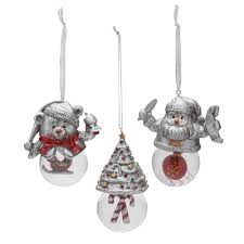 buy celebrations by mikasa set of 3 snow globe assorted ornaments