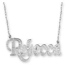 name plated necklace hden sterling silver and diamond name plate necklace sterling
