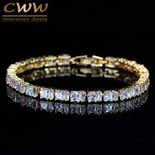 colored tennis bracelet images Cwwzircons stylish square cut sparkling cubic zirconia yellow gold jpg