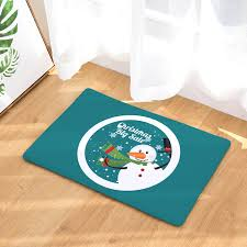 Snowman Rug Homing Durable Entrance Door Mats Cartoon Cute Smiling Christmas