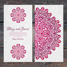 Indian Wedding Card Samples Lacy Vector Wedding Card Template Romantic Vintage Wedding