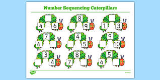 number sequencing caterpillars to support teaching on the very