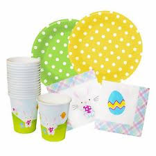 easter bunny supplies set paper plates napkins cups