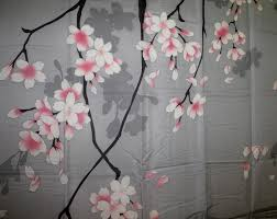 Hawaiian Print Shower Curtains by Amazon Com Traditional Japanese Cherry Blossom Art 100 Polyester