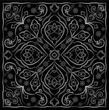 black handkerchief with white ornament square ornament for print