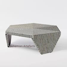 bone inlay side table bone inlay striped design coffee table bohemain artefacts bone