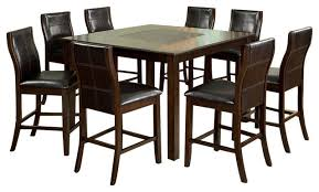 Counter Height Dining Room Furniture Baine Cherry Finish 9 Piece Counter Height Dining Table Set