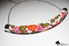 crochet necklace with beads images Bead crochet necklace beaded necklace from calliphorabeads on jpg