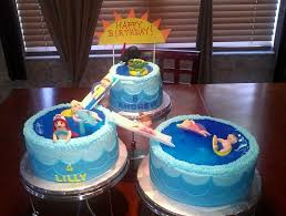 kids pool party using the wilton three tiered cake stand 6
