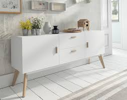 contemporary white sideboard with oak legs and handles 2 door and