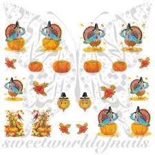 thanksgiving decals nails turkey nail water decals