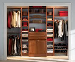 one wall closet design idea featured tiered shoe shelves under