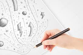 hand drawing abstract sketches and doodles on paper u2014 stock photo