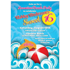 hawaiian beach sweet 16 birthday invitation