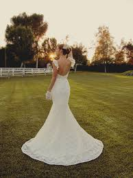 white fluttering sleeve lace long rustic mermaid wedding dress