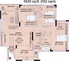 1420 sq ft 3 bhk floor plan image brigade gardenia available for