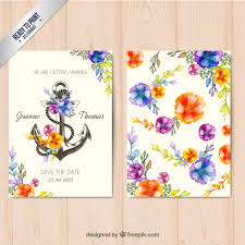 wedding invitations freepik floral wedding invitation with an anchor vector premium