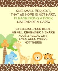 baby shower instead of a card bring a book jungle safari bring a book insert encourage guests to bring