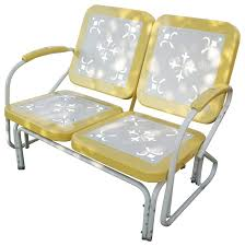 4d concepts metal retro patio glider loveseat yellow eclectic