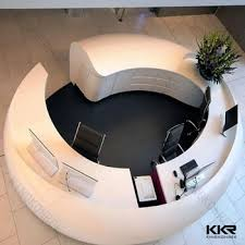 Rounded Reception Desk White Color Reception Desk Curved Reception Counter Modern