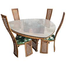 Bamboo Dining Room Chairs Square Game Table And Four Chairs Green Faux Bamboo Rattan For