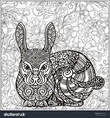rabbit on floral background coloring book stock vector 404055616