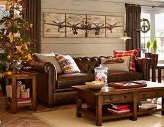Pottery Barn Leather For The Cabin Living Room So Cozy By The Fireplace Dream